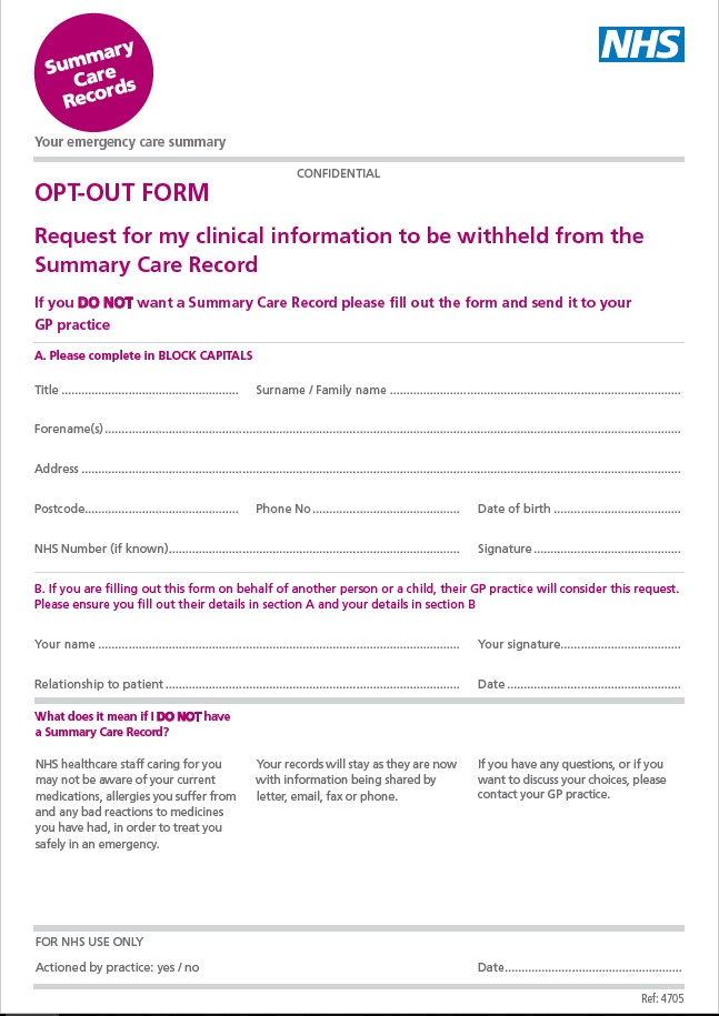 Opt Out Form